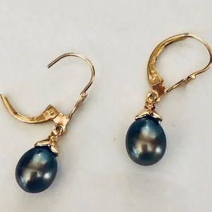 Genuine 14K Gold & Pearl Earrings